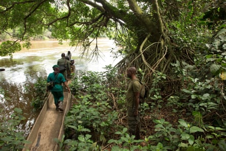 A group of ecoguards from Cameroon and Gabon patrol the Messok Dja national park.