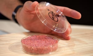 A lab-grown meat burger