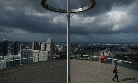 A view of a largely empty Marina Bay Skypark Observation Deck in Singapore