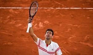 Serbia's Novak Djokovic celebrates his victory