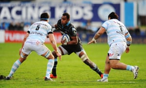 The Glasgow lock takes on Manuel Carizza and Ben Tameifuna at Stade Yves-du-Manoir.