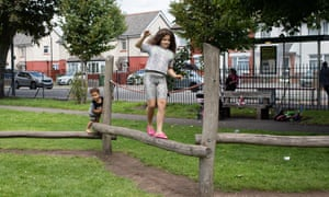 Two of Sally-Anne Trebilcock's children, Luciano and Gabrielle, play at Jubilee park in Cardiff