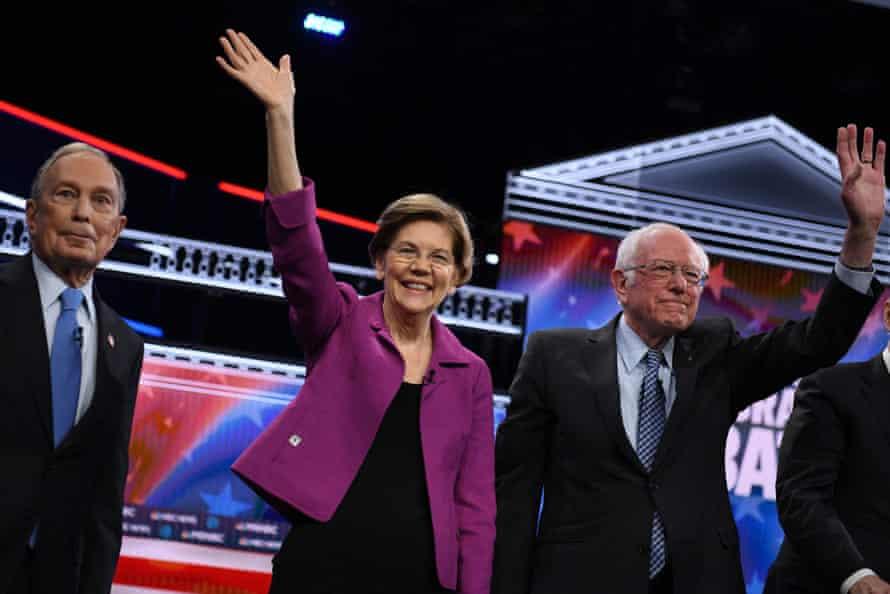 Elizabeth Warren at the Democratic presidential primary debate Wednesday in Las Vegas, Nevada
