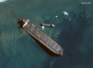 The ship, believed to have been carrying 4,000 tonnes of fuel oil, ran aground on a coral reef on 25 July.