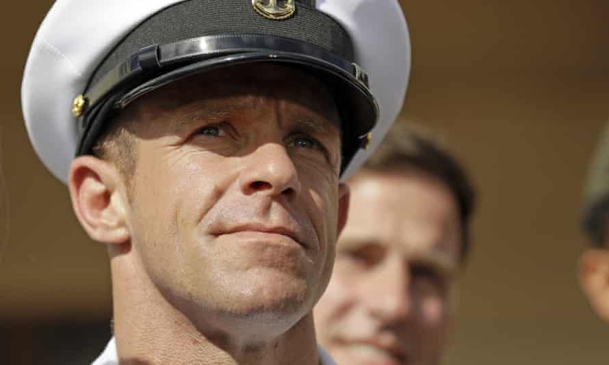 Navy Special Operations Chief Edward Gallagher leaves a military court on Naval Base San Diego.