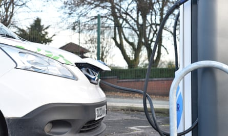 An electric vehicle on charge