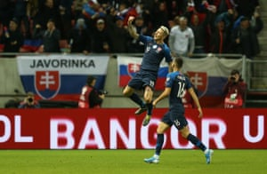 Kucka of Slovakia scores the equaliser.
