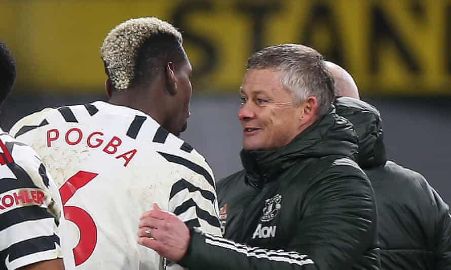 Ole Gunnar Solskjær with Paul Pogba after the win at Burnley.