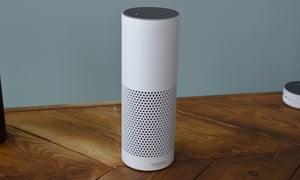a white Amazon Echo.