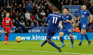 Leicester City's Marc Albrighton scores their third goal.
