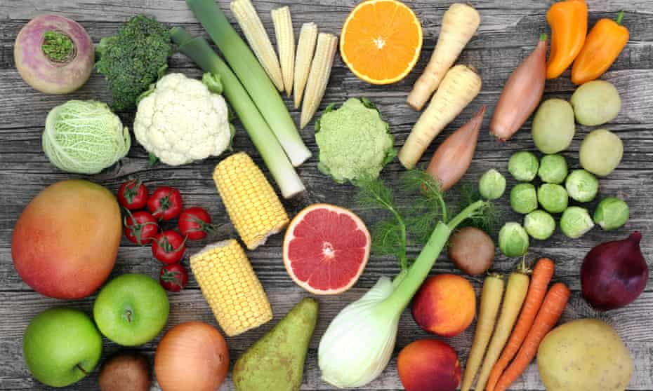High fibre health food concept with fresh vegetables and fruit.