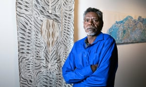 The winner of the bark painting award, Napuwarri Marawili, with his work Baraltja Dugong Yathikpa.