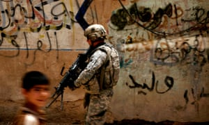 Against the wall … A US soldier in Samarra, Iraq.