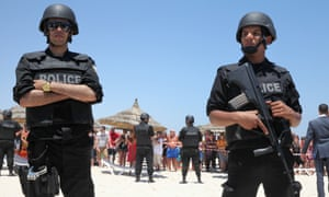 Police on the beach at Sousse after rthe terror attack