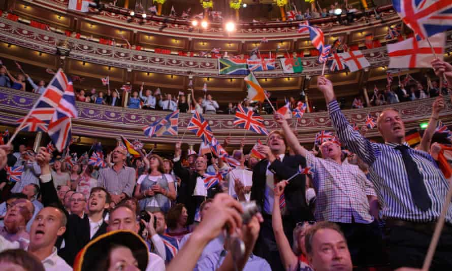 Flag waving at the Last Night Of The Proms at Royal Albert Hall on 8 September, 2012.