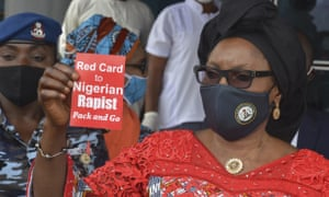 Pauline Tallen, Nigerian minister of women's affairs, protests against rape, sexual and gender-based violence in Abuja, Nigeria.