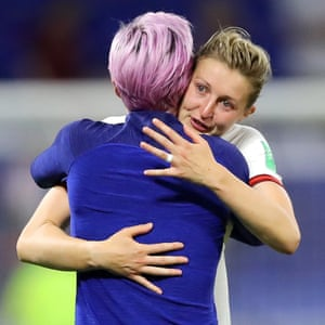 An emotional Ellen White is consoled by the USA's Megan Rapinoe after the final whistle.