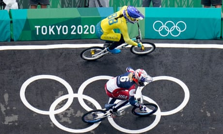 'It just sucks': tearful Saya Sakakibara supported by brother Kai after Olympic BMX crash