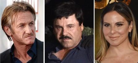Left to right, Sean Penn, Joaquín 'El Chapo' Guzmán, and Kate del Castillo, who facilitated their meeting.