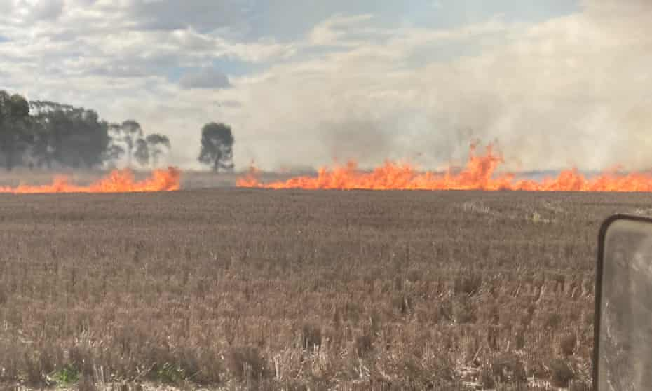Burning hay fields