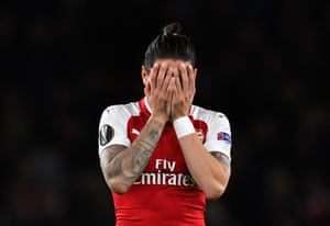 Bellerin reacts after the final whistle.