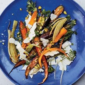 Raw and roasted carrots and fennel with feta and pistachios Alison Roman Dining In