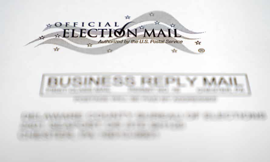 An envelope of a Pennsylvania official mail-in ballot for the 2020 general election in Marple Township, Pa.