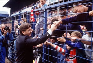 Michael Knighton greets Manchester United fans at Derby on 26 August 1989.