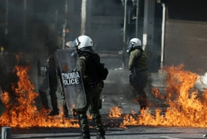General Strike in Greece - 12 Nov 2015<br>Mandatory Credit: Photo by Panayiotis Tzamaros/NurPhoto/REX Shutterstock (5363414b) Clashes between riot police and protesters in Athens General Strike in Greece - 12 Nov 2015 Nearly 25,000 people had been participating in three separate demonstrations in central Athens, according to police figures, protesting a new round of bailout-related tax hikes and spending cuts.