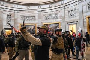 Pro-Trump mob enter the US Capitol's Rotunda.