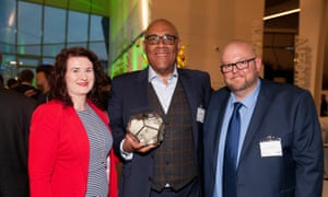 Social Impact award winners Naomi Ilagoswa, Steven Grant and Dan Sutcliffe from The University of Manchester celebrate their win