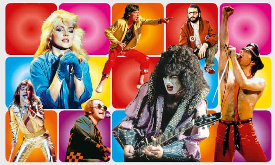 Clockwise from top left: Debbie Harry; Mick Jagger; Ringo Starr; Freddie Mercury; Paul Stanley; Elton John; Rod Stewart.
