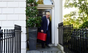 Boris Johnson leaving home this morning with his Foreign Office ministerial red box.