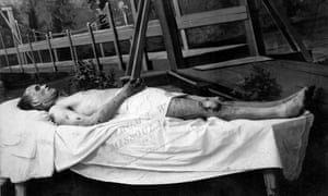 Snapshot showing the body of Frank Little, who was lynched in the early morning hours of 1 August 1917.