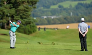 Amateur Howard Sumner plays his tee shot at the picturesque 17th hole during the PGA Super 60s Tournament at Gleneagles on August 24, 2016 in Auchterarder, Scotland