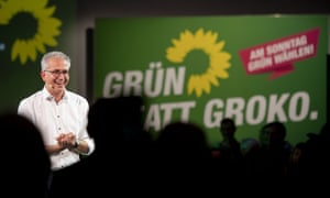 Green candidate Tarek Al-Wazir at an election rally in Frankfurt.