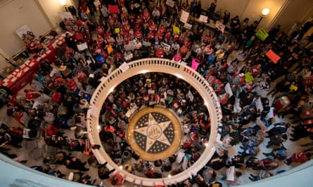 Oklahoma teachers, students and supporters rally at the state capitol in Oklahoma City on 4 April 4,.