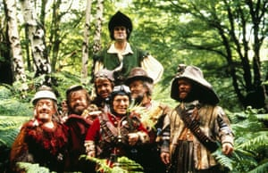 Kenny Baker, Tiny Ross, Mike Edmonds, John Cleese, David Rappaport, Malcolm Dixon, Jack Purvis in Time Bandits, 1981