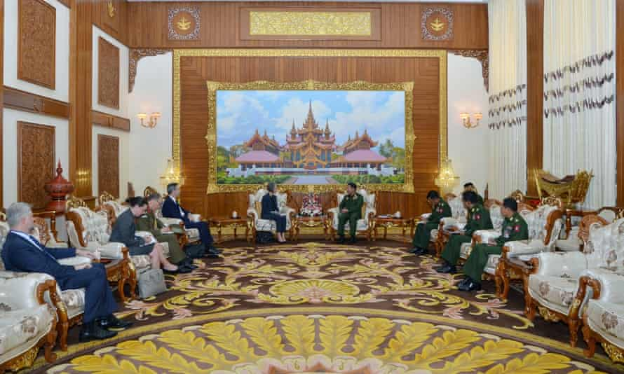 Australia's ambassador to Myanmar, Andrea Faulkner, met Min Aung Hlaing on 29 January at the Bayintnaung Villa in the capital, Naypyidaw.