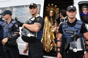 Kyiv, UkrainePolice officers stand guard at the city's annual Gay Pride parade, which far-right activists threatened to disrupt