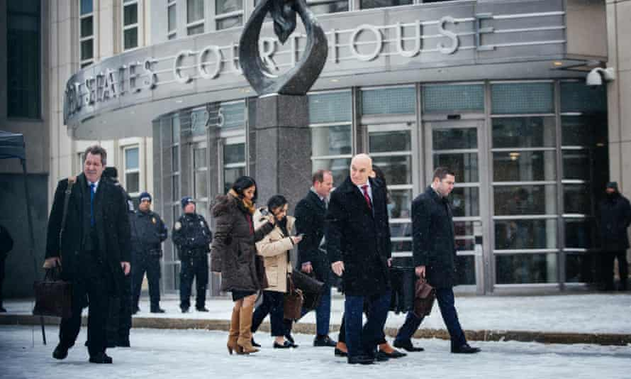 El Chapo's legal team departs after the jury reached a verdict in Brooklyn.