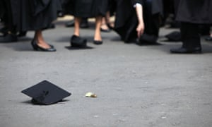 Mortarboard on floor
