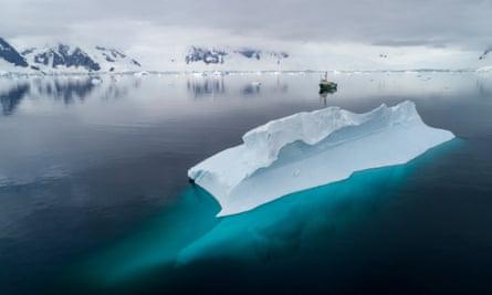 The Greenpeace ship Arctic Sunrise in Charlotte Bay, Antarctica