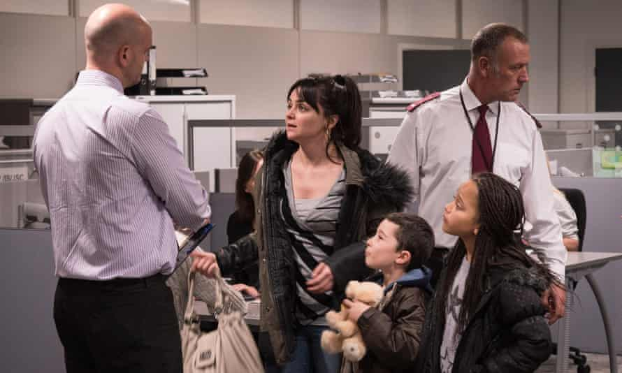 Katie and children from the film I, Daniel Blake.