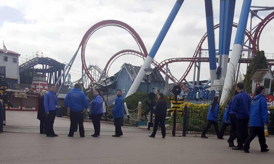 The scene at Drayton Manor theme park after the accident on 9 May.