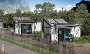 Rendering of tiny homes to be constructed in Gosford