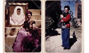 Left: Frida with her 1943 painting, Diego on my mind, which features a self-portrait in the traditional Tehuana costume, and right: with a pet monkey in the garden of the Casa Azul