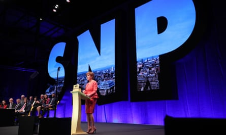 Nicola Sturgeon addresses the SNP conference in Glasgow, October 2018.
