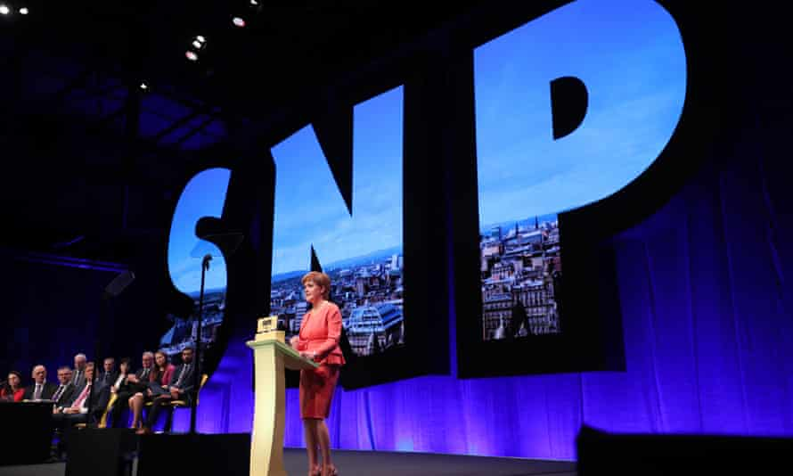 Nicola Sturgeon delivers the keynote speech at the SNP conference in Glasgow.
