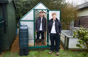 Tom Whitehurst and Harvey Tweats with their back garden facilities in Staffordshire.